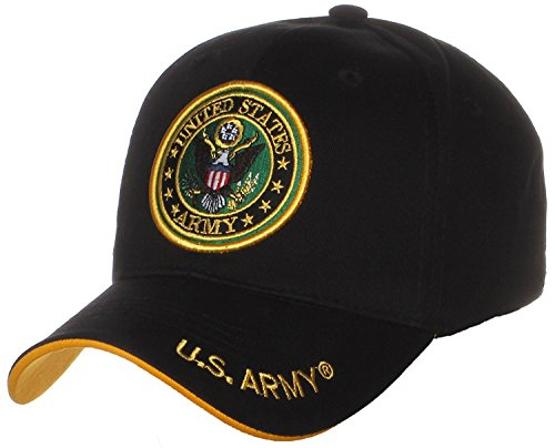 (US Army Official License Structured Front Side Back and Visor Embroidered Hat Cap (One Size, Round)