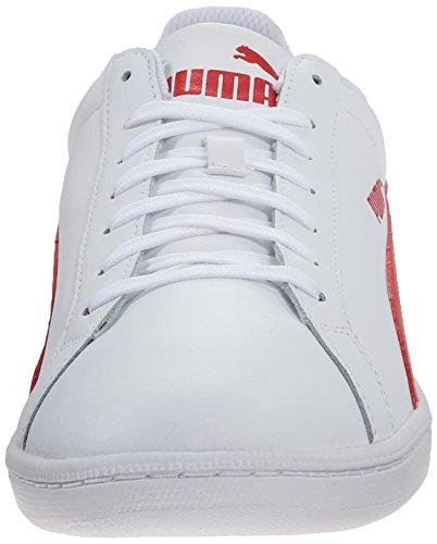 Puma Smash Leder Classico Sneaker Bianco Ad Alto Rischio Rosso
