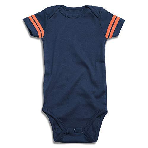 - ROMPERINBOX Blank Baby Football Jersey Short Sleeve Bodysuit (Solid Navy/Orange, 3-6 Months)