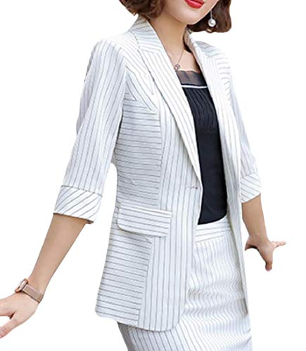 Custom Fit Pinstripe Suit - Andopa Women Hotel One Button Custom Fit Pinstripe Blazer Jacket White M