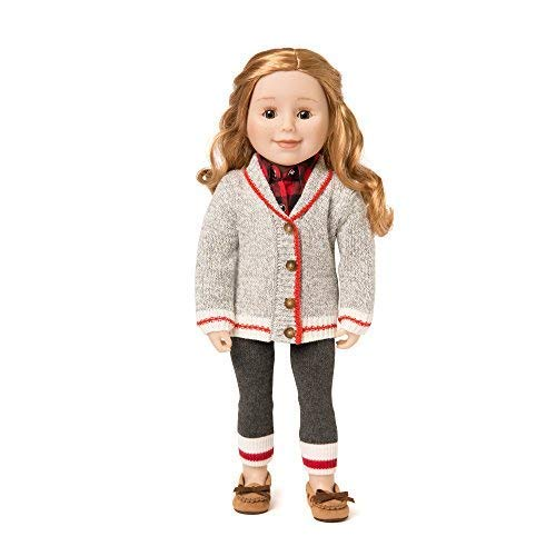 """Maplelea Chalet Chic Sweater for 18"""" Dolls - Cardigan in Classic and Trendy Work Sock Grey Knit with White and Red Stripe Trim"""