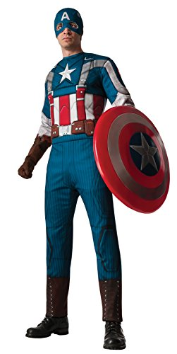UHC Men's Marvel Captain America Muscle Chest Jumpsuit w/ Mask Halloween Costume, XL (Up to (Plus Size Captain America Costumes)