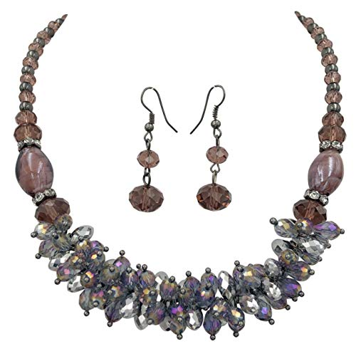 - Gypsy Jewels Glass Cluster Beads Silver Tone Statement Necklace & Dangle Earrings Set (Purple Gun Metal)