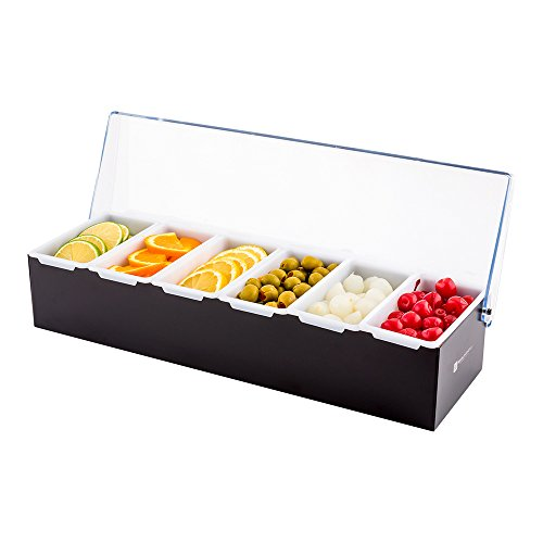 Stainless Steel Condiment Dispenser with 6 Plastic Tray Compartments and Clear Lid: Perfect for Bars, Ice Cream Shops, and Coffee Buffets - Easy to Use Garnish Server Station - 1-CT - Restaurantware ()
