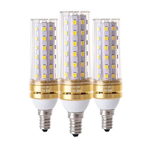 Ruixue Corn E12 LED Bulbs, 12W LED Candelabra Bulb 80 Watt Equivalent, 900lm, Decorative Candle Base E12 Non-Dimmable LED Chandelier Bulbs, Warm White 3000K LED Lamp, Pack of 3 (Candelabra 80w)