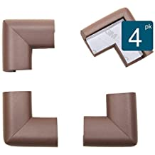 Roving Cove® 4-Piece 'Safe Corner® Cushion' - VALUE PACK - COFFEE; Premium Childproofing Corner Guard - PRE-TAPED CORNERS; Child Safety Home Safety Furniture Bumpers and Table Edge Corner Protectors