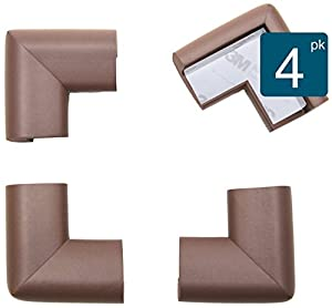 """Roving Cove 4-Piece """"Safe Corner Cushion"""" – PRE-TAPED CORNERS; 4-Pack – COFFEE; Premium Childproofing Corner Guard; Child Safety, Home Furniture Safety Bumper, Baby Proof Table Protector"""