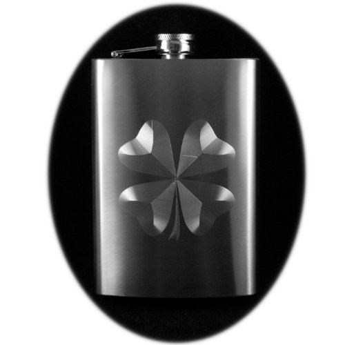 8oz Shamrock Hip Flask St Patrick's day