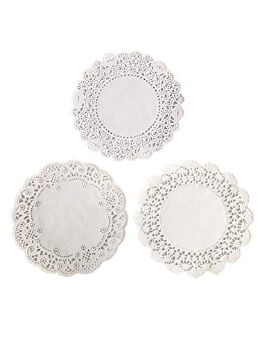 Round Paper Lace Table Doilies - 4 inch White Decorative Tableware Disposable papers Placemats, For Serving Small Treats or Rolling around Silverware (3 different patterns 50 of each - pack of 150) ()