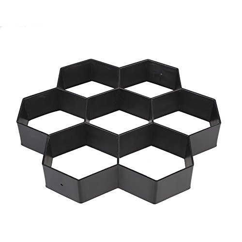 Use Concrete Molds (Kicode DIY Black Hexagon Driveway Paving Pavement Stone Mold Concrete Stepping Pathmate Mould Paver)