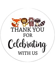 50 pack 2 Inch Thank You For Celebrating With Us Stickers, Baby Shower Thank You Sticker Labels, Woodland Animals Thank You Stickers for Baby Shower Party, Birthday Party Favor.