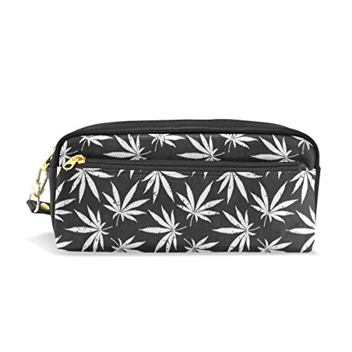 Pencil Case Vintage White Marijuana School Pen Pouch Office Zippered Makeup Bag Holder