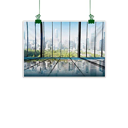 Unpremoon Landscape,Canvas Art Painting Sunny Clear Sky Office Skyscrapers in Urban Metropolitan City Scenery Wall Canvas Painting White Black and Green W 24