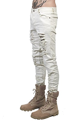 Men's Distressed Ripped Slim Fit Jeans Skinny Denim Pants (US W29=Tag30(Asian Size), White)