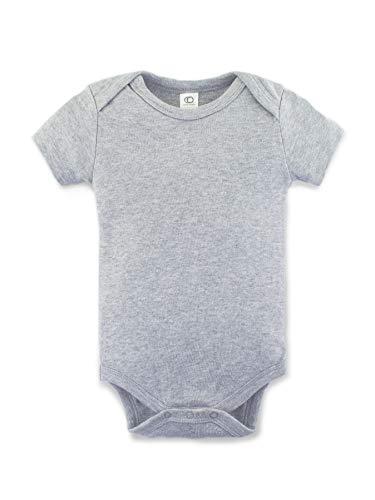 Colored Organics Unisex Baby Organic Cotton Bodysuit - Short Sleeve Infant Onesie - Heather Grey - Newborn 0-3M