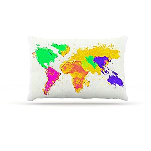 Kess InHouse Oriana Cordero My World  Fleece Dog Bed, 50 by 60 , Rainbow Map