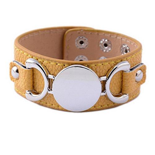 Rainbery PU Leather Cuff Bracelet Blank Monogram Jewelry Cuff Women Leather Bracelet (Yellow Silver) - Blank Ladies Leather