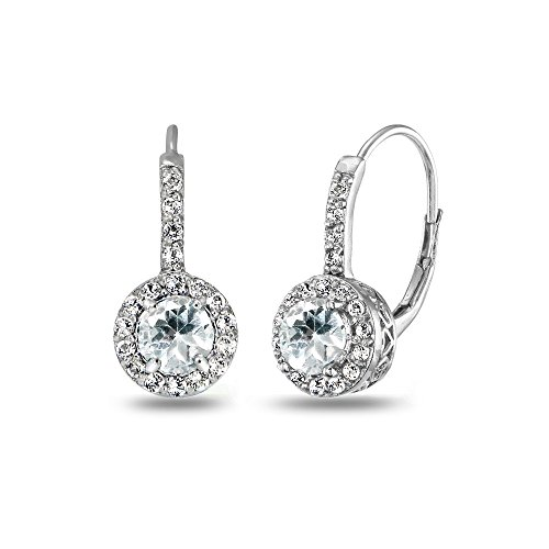 Sterling Silver Light Aquamarine & White Topaz Round Dainty Halo Leverback Earrings