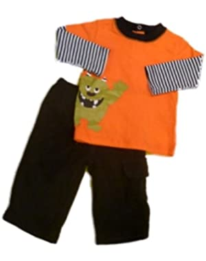 Carters Infant Boys Glow in Dark Monster Halloween Outfit Sweat Pants T-Shirt