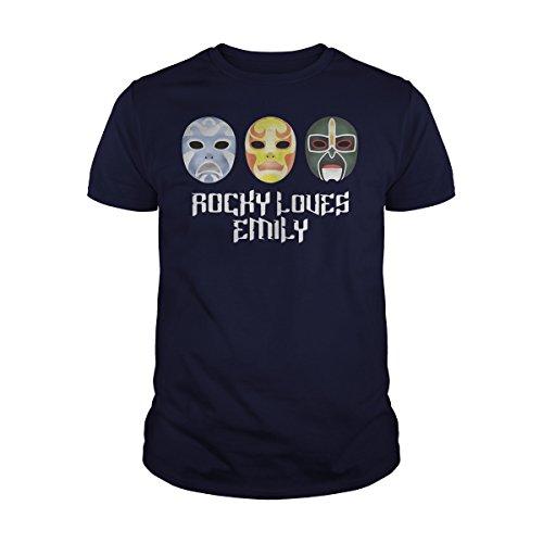 Men's 3-Ninjas-Rocky-Loves-Emily-Masks-Shirt T-Shirt (XL, Navy -