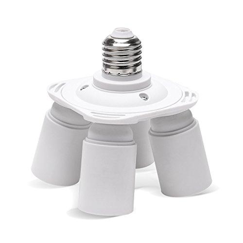 - JACKYLED 4 in 1 Light Socket Splitter E26 E27 Socket Standard Light Bulbs Holder Converter Chandelier Socket