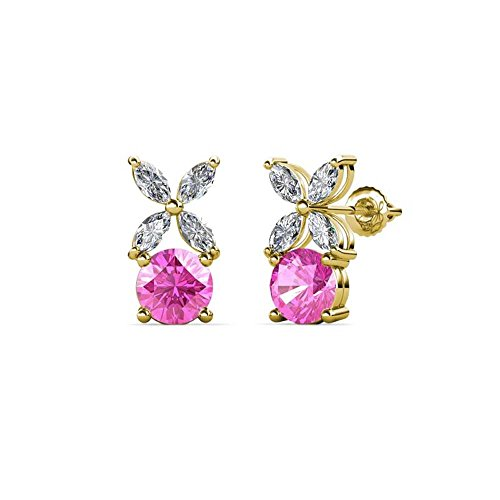Floral Pink Sapphire Earrings - Round Cut Created Pink Sapphire & White Sapphire Floral Stud Earrings 14k Yellow Gold Over .925 Sterling Silver