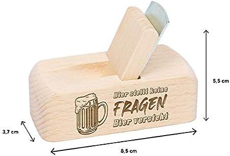 polar-effekt Abrebotellas de madera de haya con personalización, sacacorchos con mango fijo, para bebedores de cerveza, cumpleaños, Navidad, diseño de cerveza