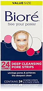 Biore Deep Cleansing Pore Strips Combo Pack, 24 Count Combo Strips