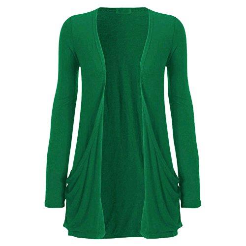 Womens Long Sleeves Drop Pocket Boyfriend Cardigan Ladies Open Casual Tops 14-20 Jade