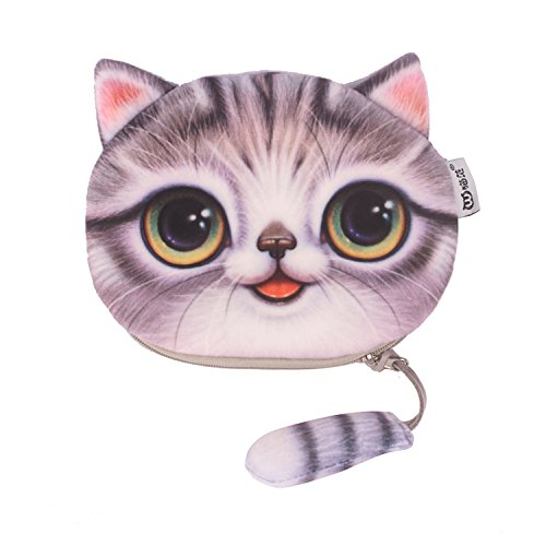 Cute Cat Coin Purse for Women, Soft Cloth Zippered Card Change Pouch for Girls Gray from DukeTea