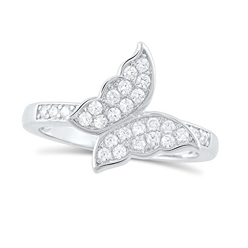 Cut Butterfly Ring Diamond (Sterling Silver Simulated Diamond Butterfly Ring - Size 7)