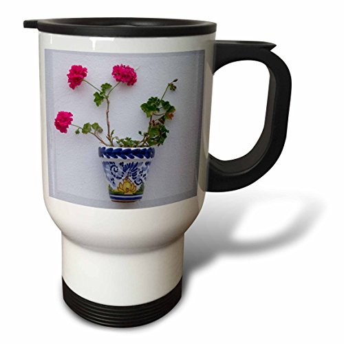 3dRose Danita Delimont - Flowers - Spain, Andalusia. Arcos de la Frontera. Painted ceramic flower pot. - 14oz Stainless Steel Travel Mug (tm_277888_1) by 3dRose