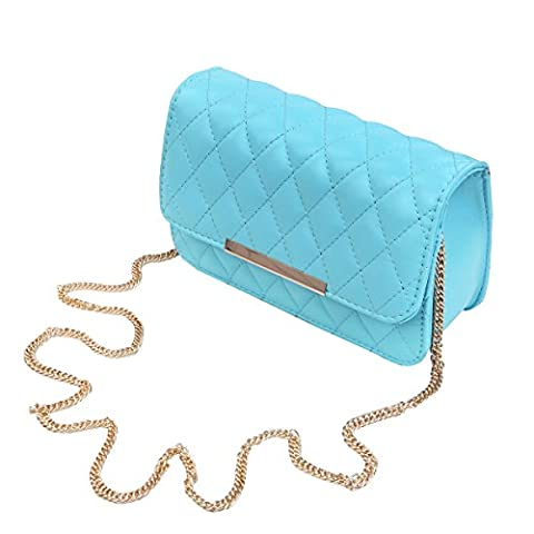 Classic Smooth Quilted Flap Clutch Handbag Crossbody Shoulder Bag, Light Blue