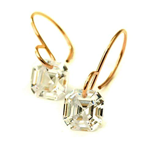 - Asscher cut cubic zirconia earrings 14kt rose gold-filled V2