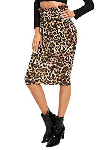 WDIRARA Women's Casual Ruffle Belted Leopard Print High Waist Knee Length Skirt Multicolor M