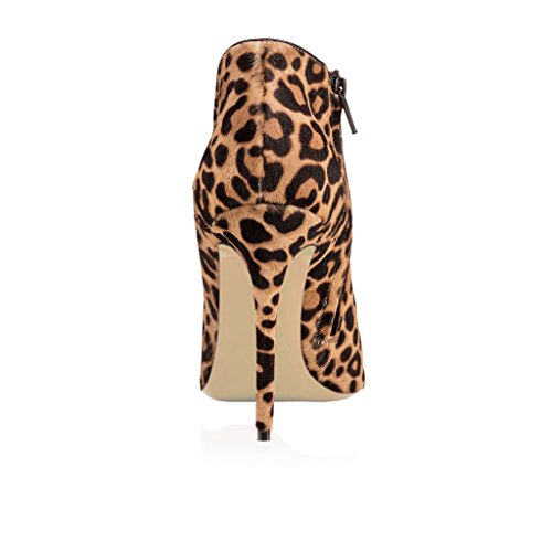 EKS Damen Runde Stilett Reißverschluss Kurze Stiefel Leopard