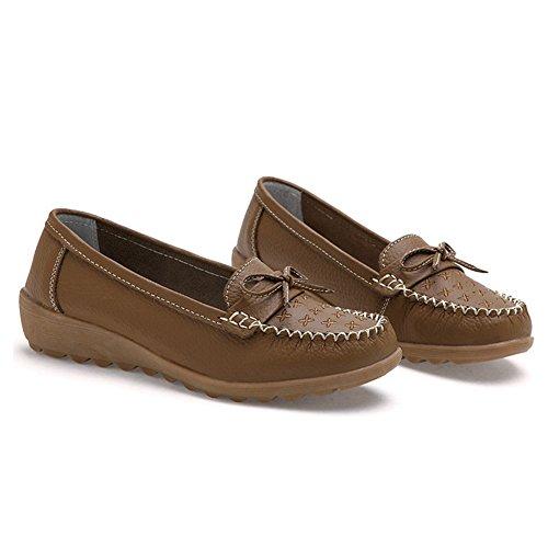 T-juillet Mignon Bowknot Confort Bateau Chaussures Antidérapant Semelle En Caoutchouc Conduite Penny Loafer Chaussures Pour Femmes Brun