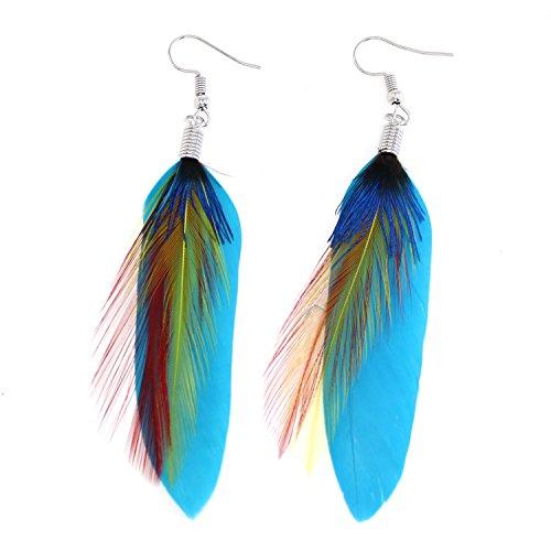 Natural Fashion Feather Theme Earring Boho Handmade Super Light Peacock Feather Dangling Earrings for Women Girls