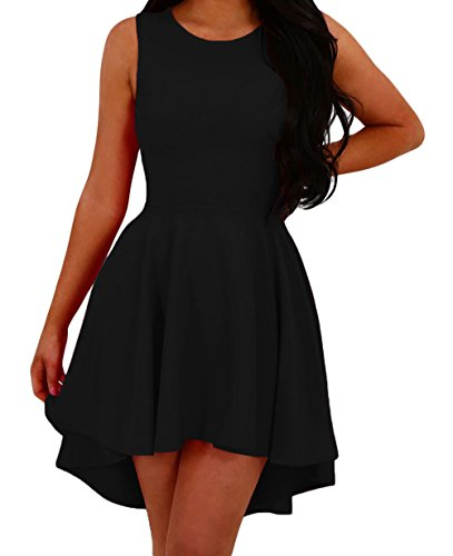 DH-MS Dress Women's Stylish Black O Neck Pleated Hi-low Hem Sleeveless Skater Dress (Film Halloween En Francais)