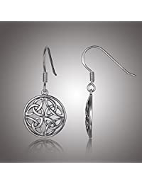 Celtic-Knot Round Drop Earrings