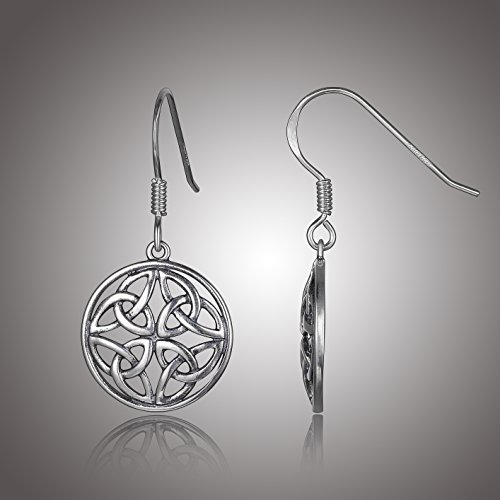 Sterling Silver Oxidized Celtic Knot Round Drop Earrings (Angel Round Earrings)