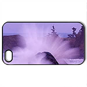 breaking waves at cape arago lighthouse - Case Cover for iPhone 4 and 4s (Lighthouses Series, Watercolor style, Black)