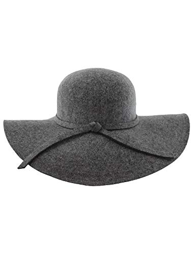(Luxury Divas Gray Wide Brimmed Wool Floppy Hat)