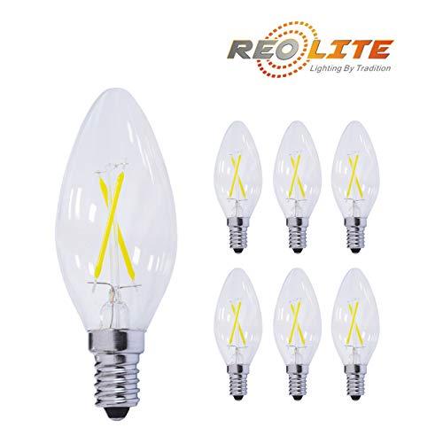 Reo-Lite 2700K Dimmable LED Candelabra Bulb 2W Soft White, 2
