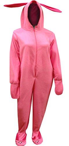 Christmas Story Women's Deranged Bunny One Piece Pajama, Pink, L/XL (Christmas Story Bunny Pajamas)