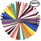 Erlvery DaMain 100Pcs 12 Inch Nylon Invisible Zippers Bulk Sewing Craft (25 Colors)