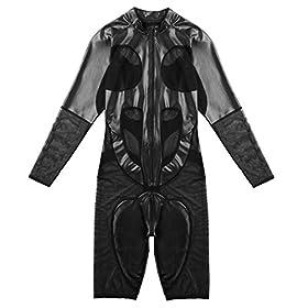 - 413sEN7TKRL - iEFiEL Men's Faux Leather and Mesh Splice Long Sleeve Zipper Catsuit Zentai Bodysuit Unitard