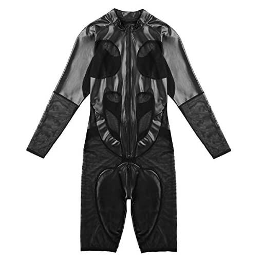 Msemis Men Lingerie Mesh Sheer See Through One Piece Bodysuit Wetlook Catsuit Wrestling Singlet Black Xx Large