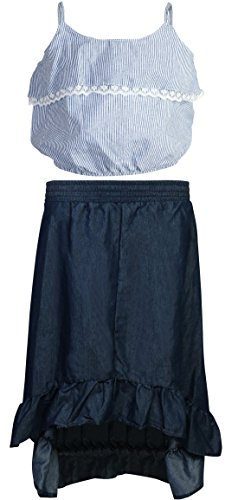 Skirt Waist Elastic Woven (dollhouse Girl\'s 2-Piece Skirt Set (Chambray Top with Woven Hi-Lo Lace Skirt), Dark, Size 2T')