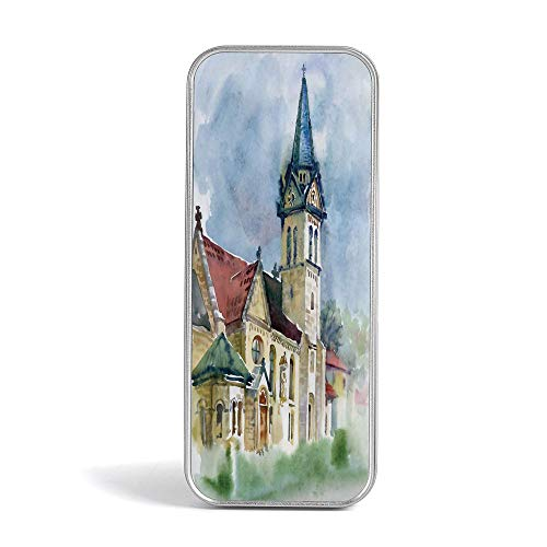Pencil Tin Box,Vintage,Special Gifts for Children/Kids,Medieval Landscape with Old Village Building in Rural Country Watercolor Artwork